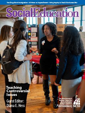 Social Education Nov Dec 2018 showing students discussing a project.